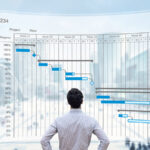 Back of man looking at project management life cycle chart